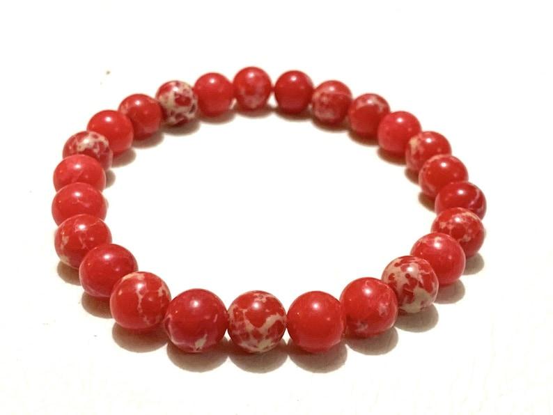 Healing Bracelet Christmas Red Imperial Jasper Bracelet Natural Stone Bracelet 8mm Red Imperial Sea Sediment Jasper Gemstone Bracelet