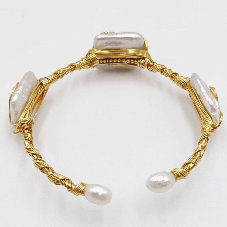 Pearl Bracelet Freshwater Pearl Cuff Bracelet Boho Raw Brass Bangle Bracelet Squ