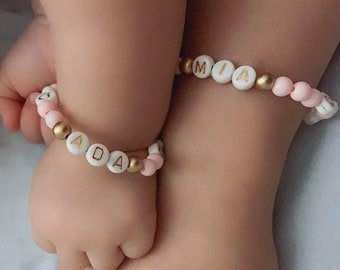 Baby Bracelet Mommy and Me TURQUOISE Modern Bracelet Toddler Bracelet