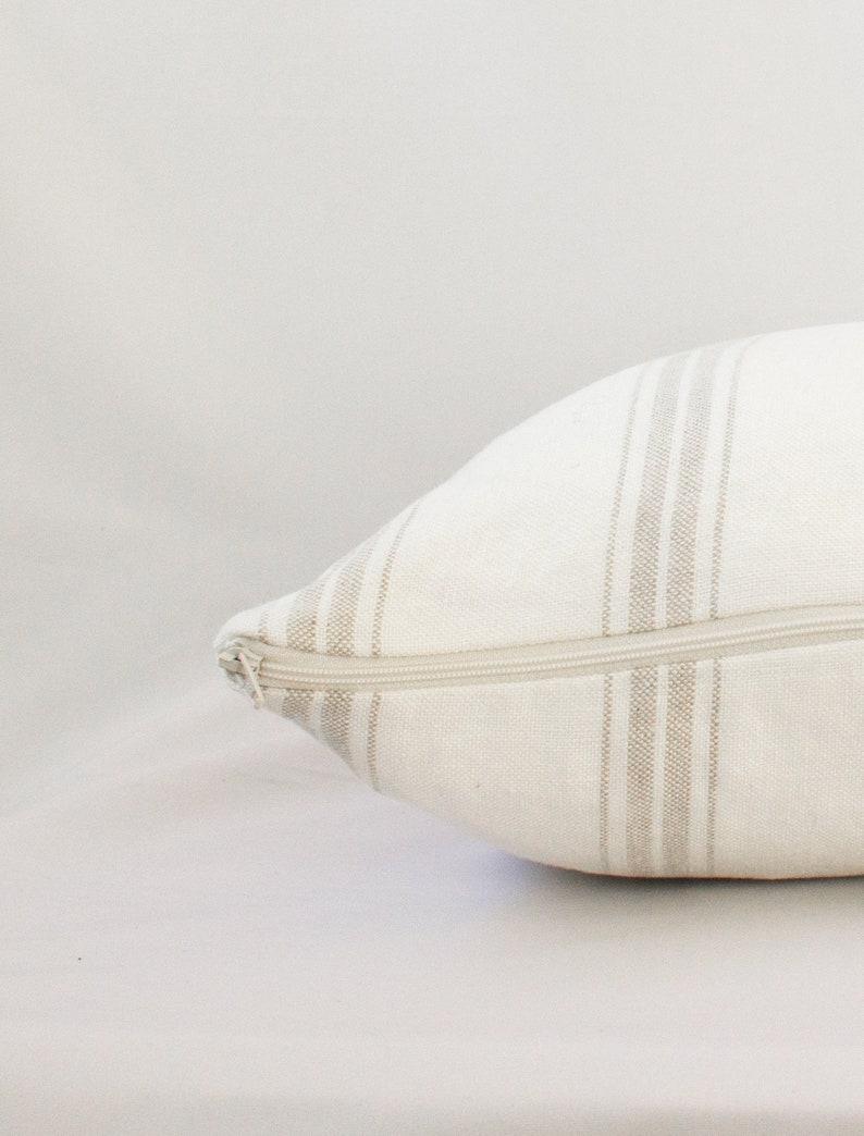 White Natural Linen Stripe Farmhouse Square Decorative Pillow Cushion Cover 40x40cm