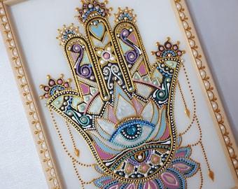 Hamsa hand amulet painting on glass, Evil eye amulet, Hamsa home wall decor.