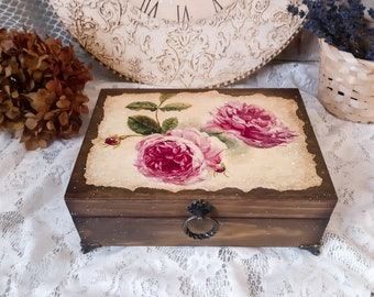 Colorful Home Decor Nature Small Resin Box Copper Flakes and Moth Cottagecore Style Gifts for Her Trinket or Ring box with Blue Flower