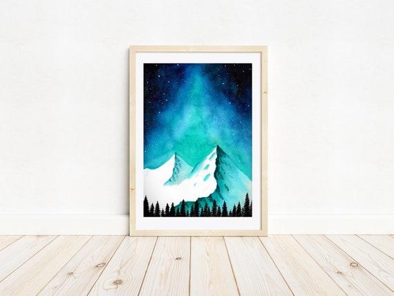 Enchanted Mountains - A4 watercolour print | Contemporary art, home decor, wanderlust