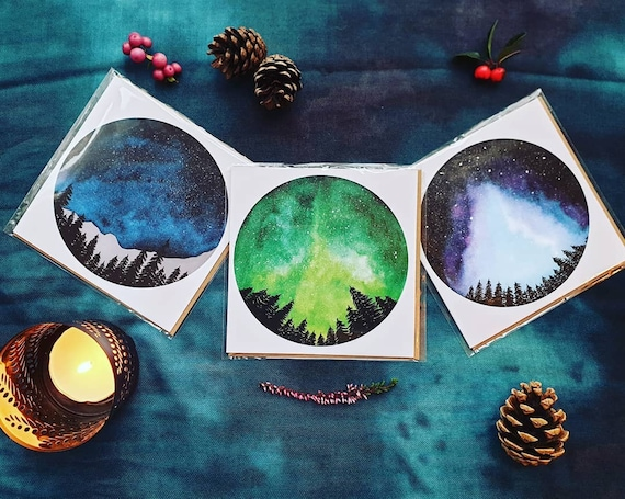 Set of 3 forest moon themed cards