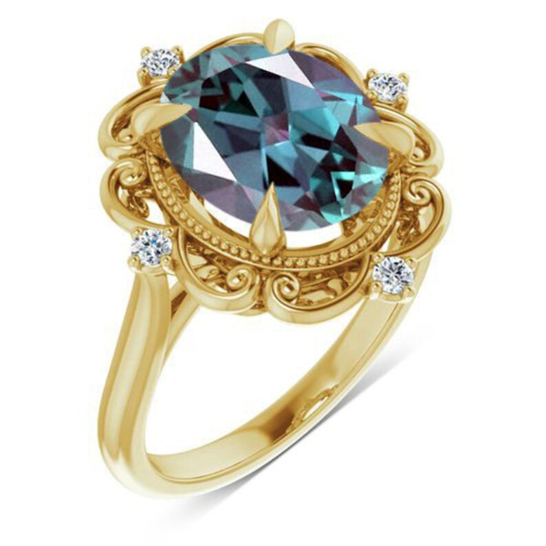 Lab Alexandrite Art Deco Engagement Ring Women Alexandrite Wedding Ring Unique Filigree Bridal Anniversary Ring Milgrain Style Promise Ring