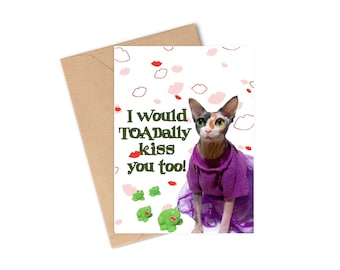 Cute Funny Illustration Fun Sphynx Cat and Gold Balloons Happy Birthday Greeting Card