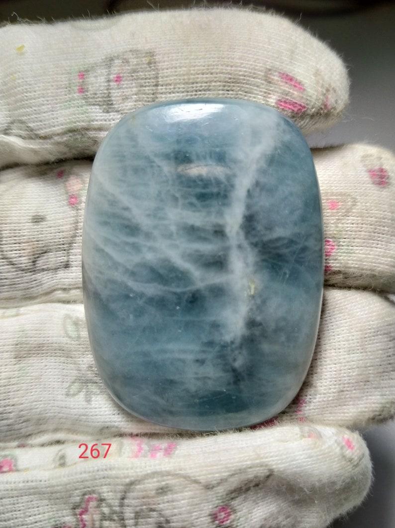 267 100/% natural Aquamarine cabochon Stone handmade Gemstone top quality Loose Stone jewelry making 105ct  43\u00d731mm free shipping S