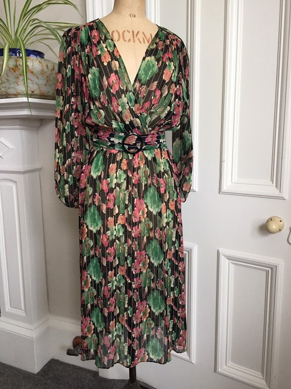 Stunning 80s semi sheer mock wrap dress