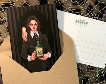 Wednesday Addams and Thing Postcard A6 The Addams Family Poison Bottle Death Skull Horror Movie Series Cartoon Retro Vintage Halloween Card