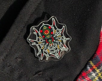 Spider & Web Acrylic Pin Traditional Tattoo Old School Style Classic Flash Art