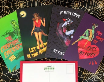 Monster Mash 4 Pack Postcards A6 Watercolor Retro Pinup Girls Classic Monsters Horror Movie Valentine's Day Anniversary Card Psychobilly