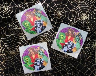 Monster Mash Circle Stickers Halloween Classic Horror Movie Pinup Girls Bride of Frankenstein Wolfwoman Creature Lagoon Vampire