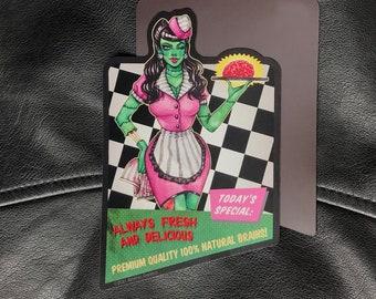 50's Diner Zombie Girl Fridge Magnet Watercolor Illustration Retro Vintage Waitress Brains Funny Housewarming Halloween Gift