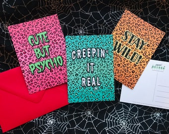 3 Pack Leopard Print Postcards A6 Watercolor Illustration Pattern Psychobilly Rockabilly Cute But Psycho Creeping It Real Stay Wild