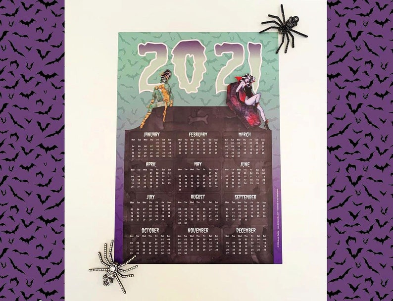 A3 Wall Calendar 2021 Retro Monster Pinup Girls image 0