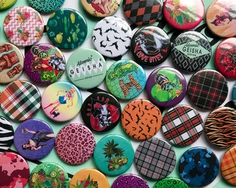 """5 Pack Button Badges 25mm/1"""", Gift Set, Care Package, Mix and Match, Hand Illustrated Pin Brooch, Watercolor Art,  Retro"""