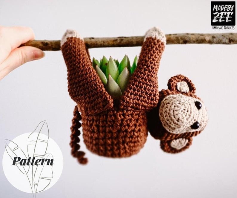 Crochet Pattern Monkey Plant Hanger  Mini succulent planter  image 0