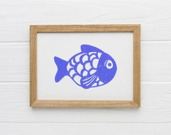 Fish in linocut