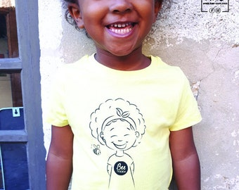 Screen-printed cotton children's T-shirt I'm the color of honey