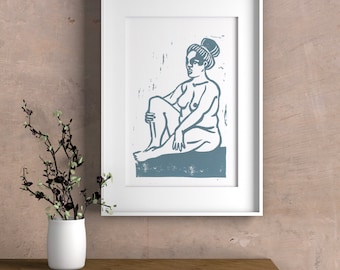 "Drawing of nude woman ""I love my body"" in linocut - blue grey print"