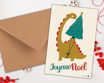 Greeting Card - A dinausore at Christmas