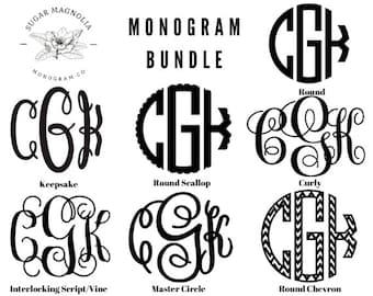 The Ultimate Monogram Bundle-Interlocking Script-7 Fonts & 15 Frames-Monogram SVG-Curly  Monograms w/ Floral Wreath Frames-Cricut-Silhouette