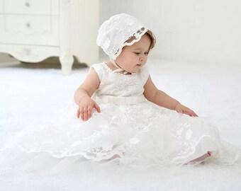 BABY GIRLS CHRISTENING DRESS,WHITE IVORY,DIAMANTE,FLOWER GIRL,WEDDING,BAPTISM