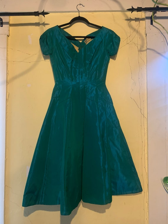 Peacock green vintage 1950s evening dress size sm