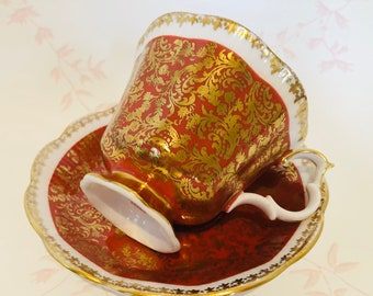 ROYAL ALBERT Burnt Orange Teacup and Saucer with Gold Chintz Design - Buckingham Series
