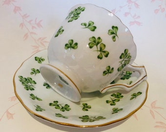 AYNSLEY Shamrock Teacup and Saucer with Gold Trim
