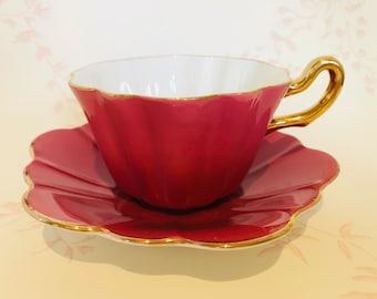 ROYAL STUART SPENCER Stevenson Vintage Pink Harlequin Bone China Teacup - 1940's Vintage