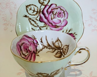 E.B. FOLEY Beautiful TEACUP/SAUCER  Mint Green with large Open Pink Cabbage Roses