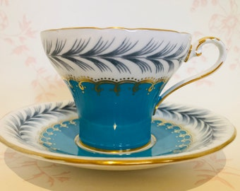AYNSLEY Turquoise Blue, White and Gold Corset Tea Cup and Saucer