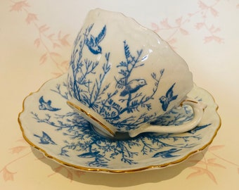 COALPORT Blue Birds on Branches - TeaCup and Saucer - fluted edge - Pattern 8635