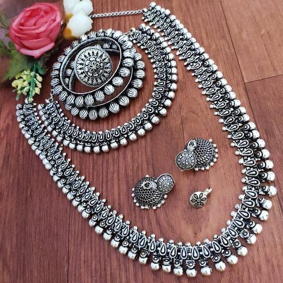 German silver necklace with jhumkas