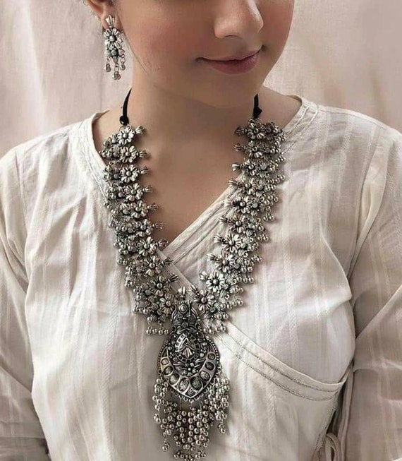 Heavy ghunharoo multilayer necklace German silver jewelry Indian ethnic oxidised necklace Oxidised long necklace antique Temple jewelry