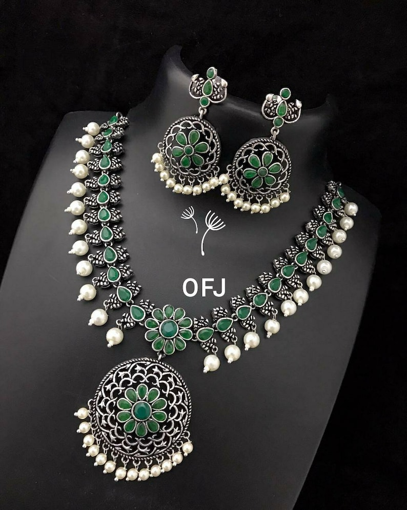 antique German silver set,gypsy Indian Stone and pearl jewelry set Indian ethnic traditional jewelry set temple jewelry kemp jewelry