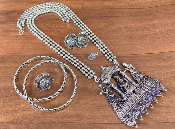 Earrings Fashion Combo Oxidised Silver Afghani Tribal boho Necklace Bracelet for Girls Women Oxidised Jewelry necklace for her Anklets