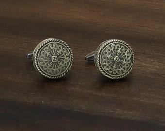 Silver Toned Circular Intricate Celtic Design Cufflinks