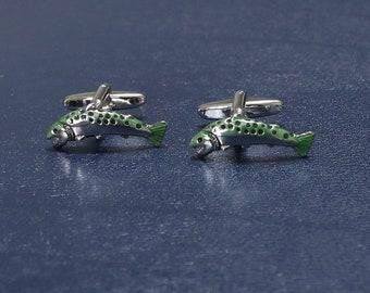 Yellow cufflinks for gift Stainless steel handmade cufflinks Real fish fin  leather Hippie fish fin cufflinks