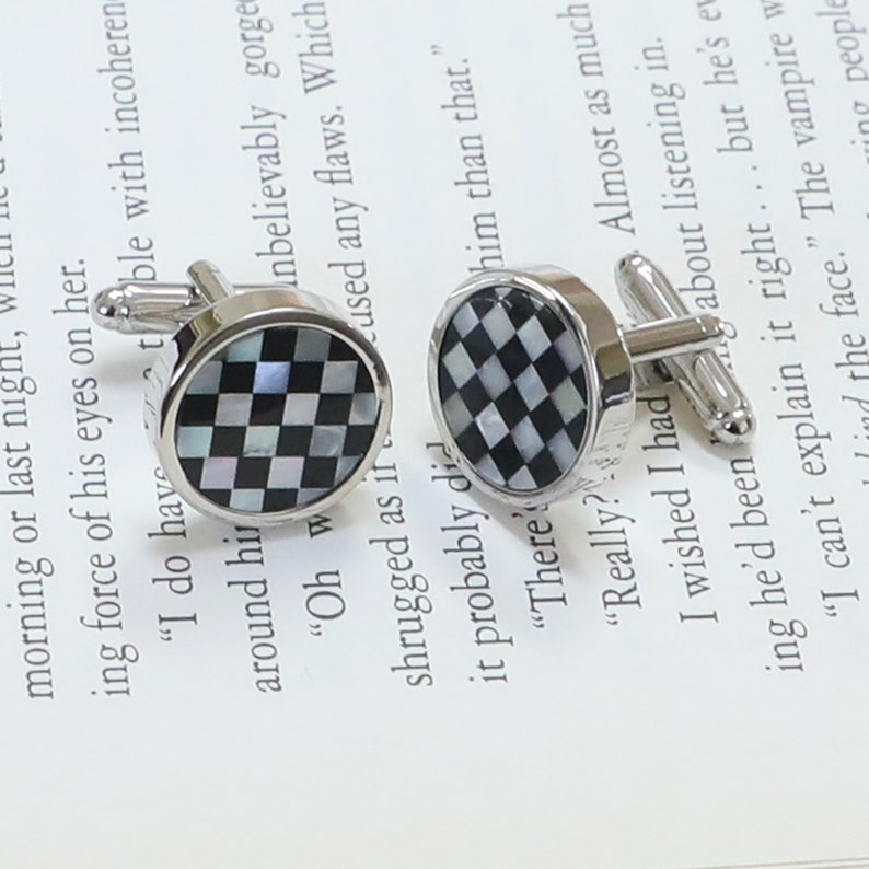 Mother Of Pearl And Onyx Round Checks Pattern Rectangle Men/'s Formal Wear Dress Shirt Cuff Links Best Birthday Father/'s Day Wedding Gift
