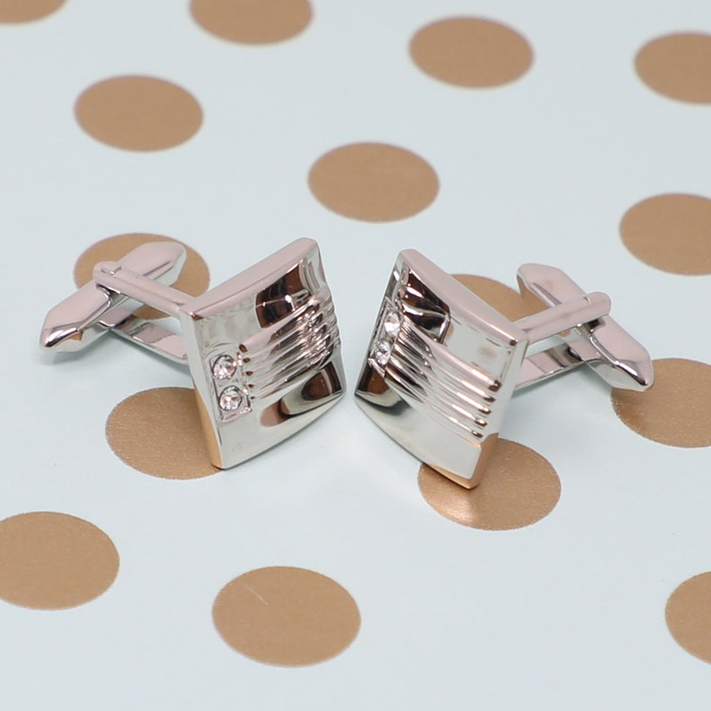 Silver Tone Square Clear Crystals Cufflinks Best Birthday Father/'s Day Gift Wedding Gift For Him