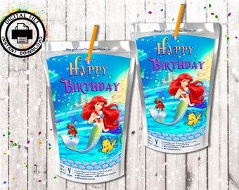 Little Mermaid  Capri Sun printable,Little Mermaid Ariel Favor Bags,Little Mermaid Birthday,Little Mermaid Party Favors,Little Mermaid Party
