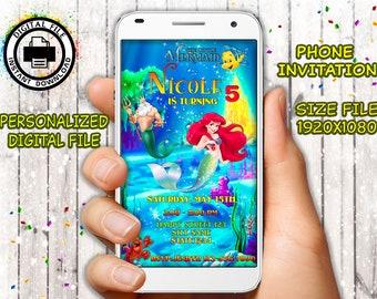 Little Mermaid phone invitation,  Ariel mobile invitation, Little Mermaid invitation,Princess Ariel Birthday,Little Mermaid Party,Pool Party
