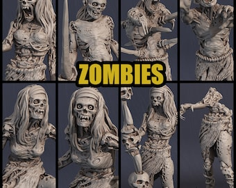 Zombies, different variants, available in 28 mm or 32 mm scale, modular for DnD and tabletop