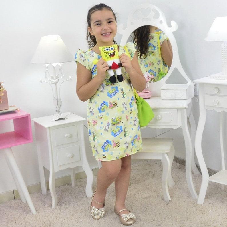 Girl/'s Sponge Bob Dress With Bag and Plush birthday party