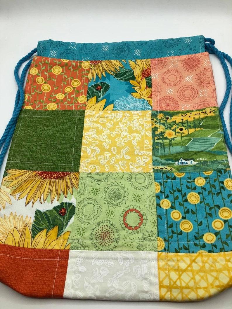 Drawstring Patchwork Backpack