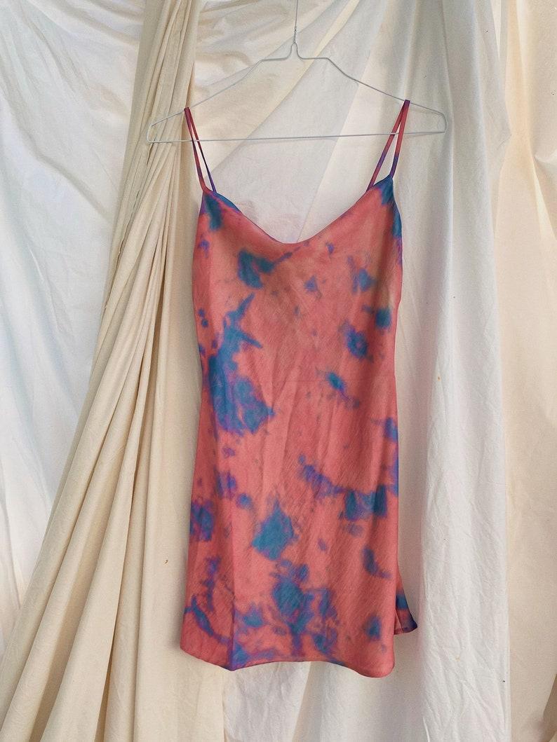 Tie Dye Satin Mini Slip Dress in Bubble Gum