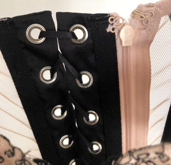 Vintage corset for women beige black lace top bus… - image 6