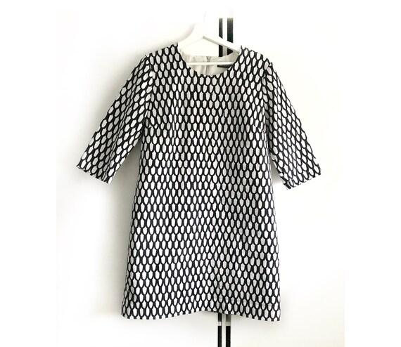 MARIMEKKO vintage black and white print dress for